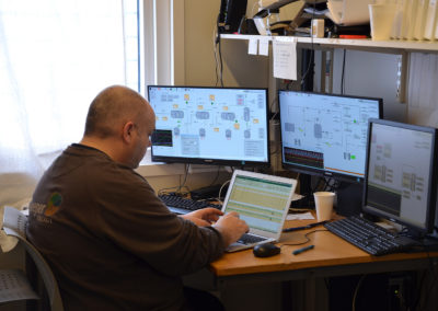 Steeper Energy engineer Henrik Egholm, in the control room, HTL part of the plant, AAU
